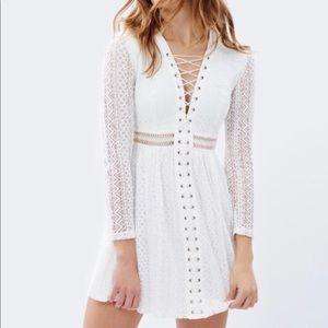 Bardot Gigi White Lace Up Dress